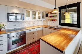 Kitchen with European cabinets and brick backsplash