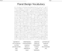 Principles Of Floral Design Review Questions Answers Floral Design Vocabulary Word Search Wordmint