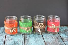 I love making my own DIY fall decorations. These burlap mason jar  centerpieces are the