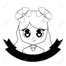 Decorative Ribbon With Cute Anime Girl Icon Over White Background