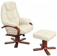 macau cream leather swivel recliner chair footstool me home