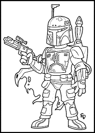 Boba Fett And Jangofett Star Wars Coloring Pages For Kids With Star
