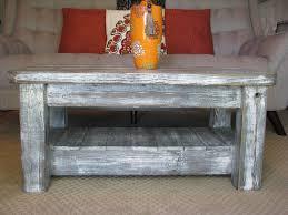 rustic coffee table with shelf in weathered grey choose from pertaining to rounded edge coffee table