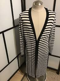 Chicos Womens Striped Long Open Front Cardigan Sweater
