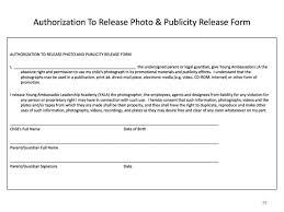 Publicity Release Form Generic Job Application Form Template Business 1