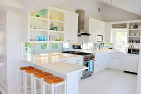 Kitchen:Lovely Elegant Small Bright White Kitchen Design Plus Mini Island  And Benchs On Laminate