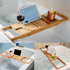 hot bathroom bamboo bath caddy wine glass holder tray over bathtub rack support com