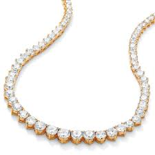 26 23 tcw round cubic zirconia 14k gold plated eternity necklace 16
