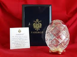 Authentic Faberge Imperial egg <b>hand engraved</b> crystal Romanov ...