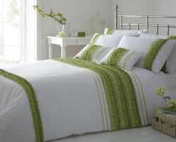 stylish striped ruffle lime green colour modern duvet cover luxury