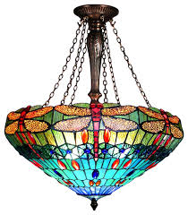 scarlet tiffany style 3 light dragonfly inverted ceiling pendant 24 shade