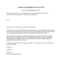 Letter Of Recommendation Employment Template 50 Best Recommendation Letters For Employee From Manager