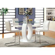 lodia white round glass top counter height table set
