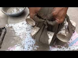 Como fazer vasos de plantas com concreto. Kumasla Beton Saksi Yapimi 2 Kolay Ve Ilginc Yontem Youtube Concrete Crafts Diy Cement Planters Concrete Diy