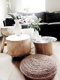 furnitures tiny slice tree trunk table ideas minimalist living room with black sofa and round