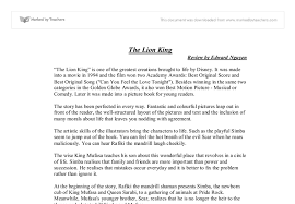 example of book review essay book review of lion king gcse english  book review of lion king gcse english marked by teachers com document image preview