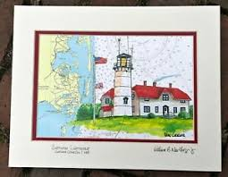 Details About Chatham Lighthouse Nautical Chart Art Print Cape Cod Coast Guard Souvenir Gift