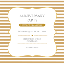 Gold And White Free Anniversary Invitation Template Greetings Island
