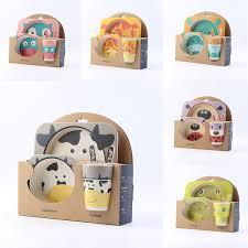 <b>5pcs</b>/<b>set</b> children bamboo fiber <b>tableware</b> cartoon animal <b>tableware</b> ...