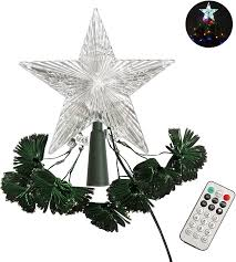 Lighted Globe Led Revolving Tree Topper Amazon Com Crystal Star Tree Topper With 8 Strands Led