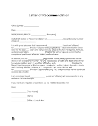 Military Letter Recommendation Free Military Letter Of Recommendation Templates Samples
