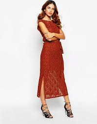 warehouse 70 s lace split side maxi dress brick women dresses warehouse jumpers debenhams official website