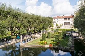 stock photo villa vizcaya north facade from museum gardens in coconut grove in miami florida usa