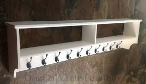 wide painted hat coat rack with shelf