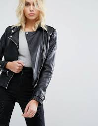 soft leather studded lapels asymmetric zip fastening stitched quilted shoulders functional pockets zipped cuffs regular fit true to size