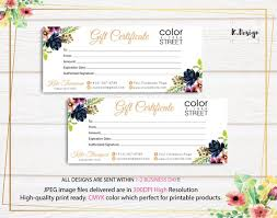 gift certificate for business personalized color street gift certificate color street gift card