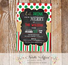 Christmas Holiday Invitations Eat Drink And Be Merry Christmas Holiday Party Invitation With Red And Green Dots And Tan Gold