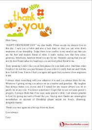 Thank You For Your Friendship Letter Sample Vancitysounds Com