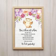 Das Leben Ist Schön Kunstdruck Din A4 Eule Spruch Bild Kinderzimmer
