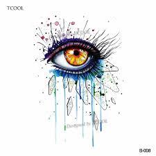 Tcool акварель женщины глаз временные татуировки наклейки водонепроницаемый мода