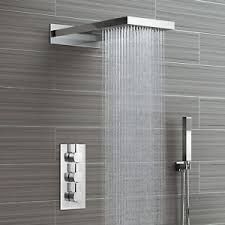 Image is loading Waterfall-Shower-Head-amp-Concealed-Thermostatic-Valve-Kit-