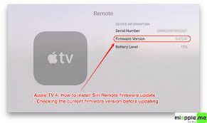 apple remote battery. siri remote update firmware_01_firmware version 0x0241 before updating apple battery