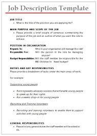 Job Description Templates 40 Printable PDF Word Formats Interesting Job Description Template Word