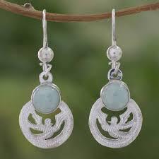 light green jade dangle earrings quetzal patriot fair trade jewelry jade and