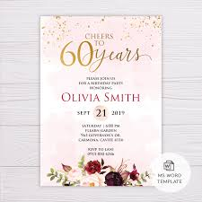Word Template For Birthday Invitation Blush Gold Watercolor With Marsala 60th Birthday Invitation Template