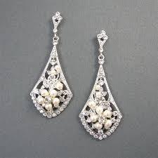 vintage chandelier earrings wedding vintage style bridal earrings ivory pearl wedding earrings