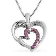 purple diamond ir diamond sterling silver heart pendant with chain 18 in 0 15 ctw lc
