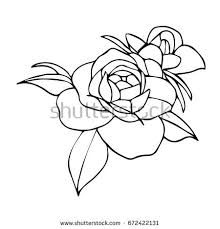 Small Picture Vector Drawing Rose Line Drawing Stylized Stock Vector 462632776