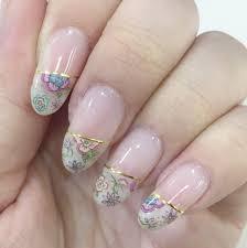 春ネイルに花柄フレンチnaillibertad