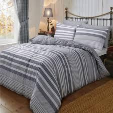flannel stripe grey duvet cover reversible bedding brushed cotton super king size 264703