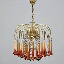 teardrop glass chandelier simple brass