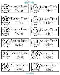 Screen Time Tickets Screen Time For Kids Kids Schedule