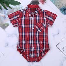 Newborn Infant Baby Boys Romper Plaid Shirt Clothes Outfit Jumpsuit Bodysuit