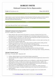 Customer Service In 3 Words Outbound Customer Service Representative Resume Samples