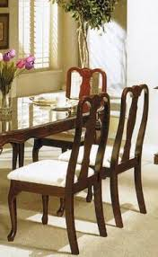 set of 2 dining chairs queen anne style cherry finish poundex