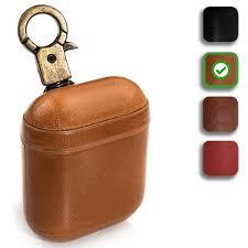 Designer Airpod Case Peepcase 2019 Newest Genuine Leather Designer Airpod Case Cover For Airpods 2 1 With Wireless Charging Support And Keychain Caramel